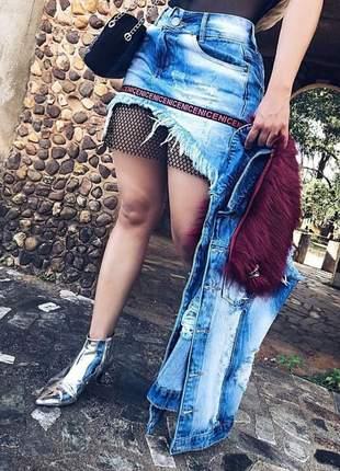 Mini saia jeans com telinha