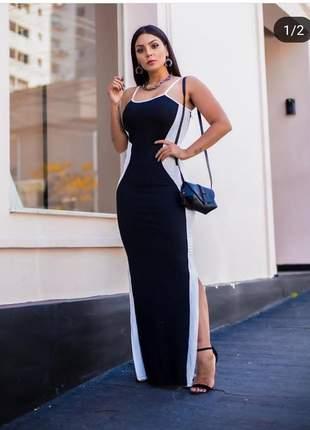 Vestido longo com faixa laterais em malha canelada e fenda lateral