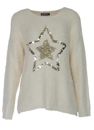 Blusa infinity fashion tricô estrela bege claro