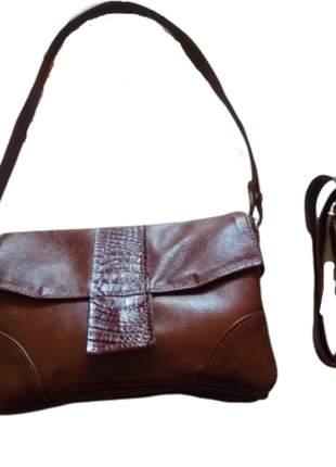 Bolsa de couro macio pequena com alças transversal/ombro
