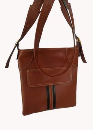 Bolsa de couro legítimo pequena transversal com bolso externo
