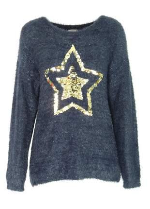 Blusa infinity fashion tricô estrela azul marinho