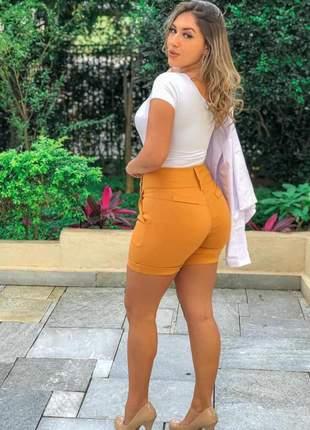 Short feminino cintura alta bengaline bermuda