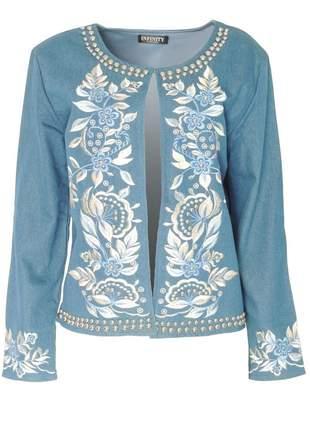 Casaco infinity fashion bordado azul escuro