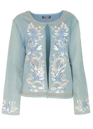 Casaco infinity fashion bordado azul jeans claro