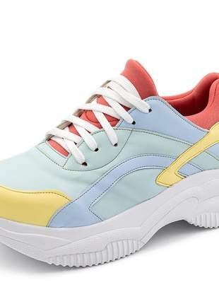 Tênis sneakers chuncky recortes em napa serenity com detalhes em napa amarelo