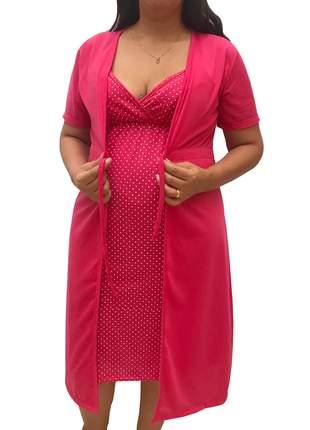 Conjunto maternidade camisola de alcinha amamentação e robe 0126pk - linda gestante