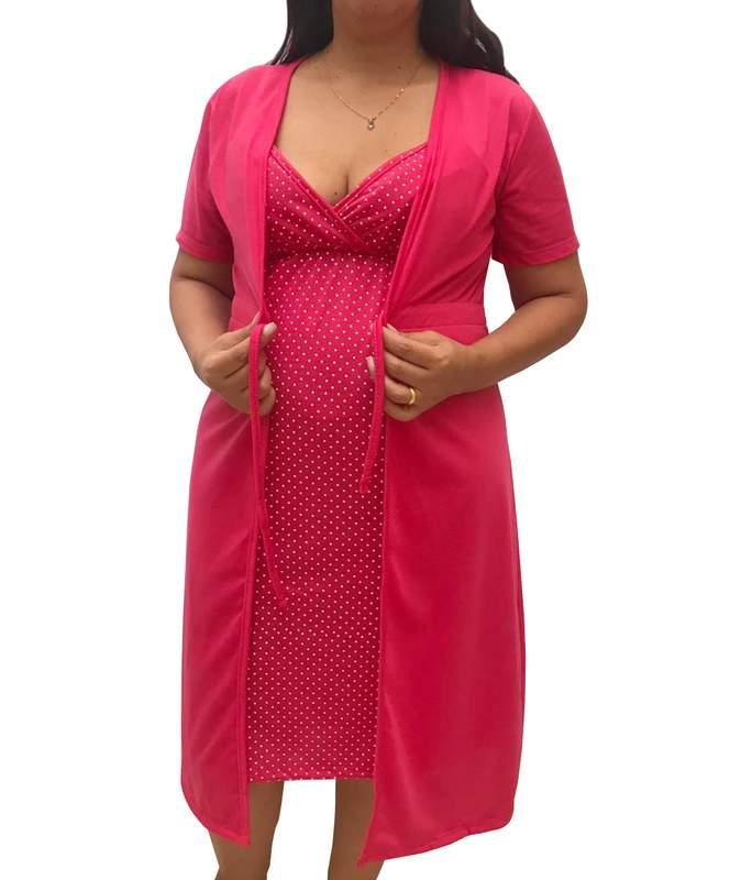 Un set di camicie di maternità alcinha l'allattamento al seno e la vestaglia 0126pk - bella donna incinta