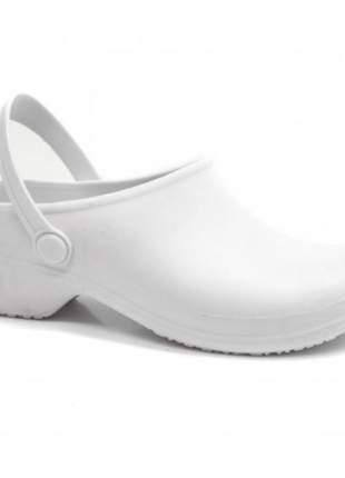 Sapato feminino clog branco boa onda conforto enfermagem cozinha