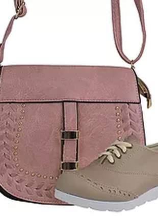 Kit sapatênis oxford + bolsa fashion