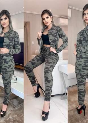 Conjunto calça jeans camuflada jogger + jaqueta camuflada