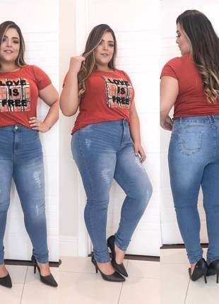 Calça jeans clara plus size skinny
