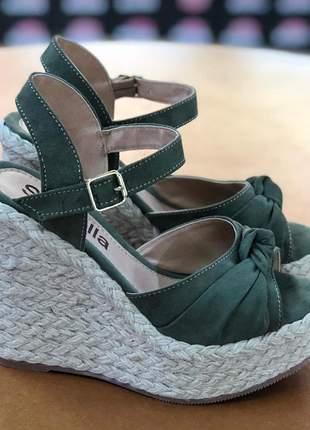 Sandália  anabela salto corda verde