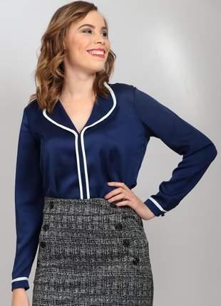 Camisa seda azul