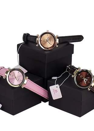 Kit 3 relógios feminino fashion - courino