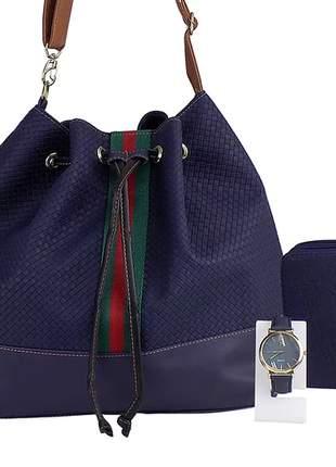 Kit bolsa saco + carteira + relógio casual