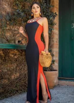 Vestido longo alcinha com fenda lateral lançamento