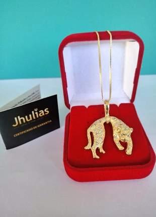 Corrente pingente pantera cravejada banhada a ouro