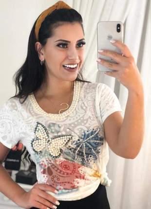 T-shirt devorê em pérolas blusa feminina manga curta borboleta