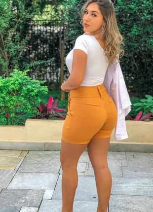 Bermuda plus size feminina short cintura alta