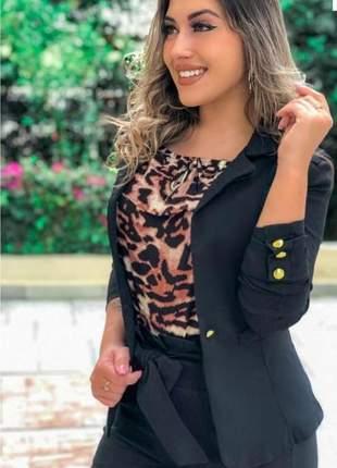 Blazer curto feminino acinturado casaquinho colorido