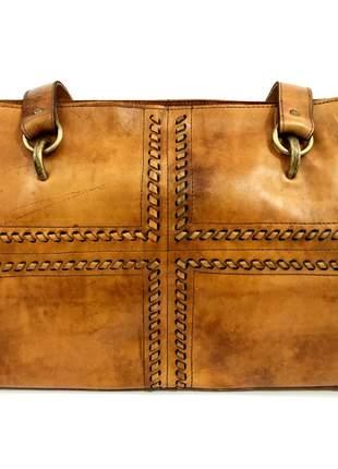 Bolsa de couro legítimo caramelo - cintos exclusivos - feminino