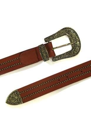 Cinto couro country dali shoes fivela metal