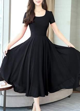 Vestido longo rodado moda evangélica