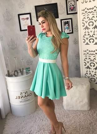 Vestido boneca manga curta verde