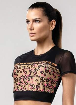 T-shirt alto giro tela recorte frente estampada fernanda motta