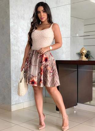 Vestido curto alça floral