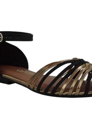 Sandália feminina dakota preta e ouro