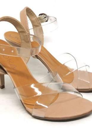 Sandália feminina decora salto fino marrom tira transparente
