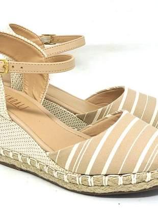 Sandália feminina espadrille glendale creme e branco
