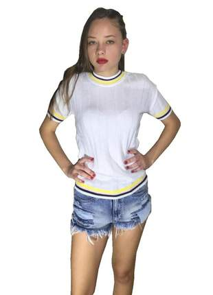 Blusa canelada t shirt amarela manga curta