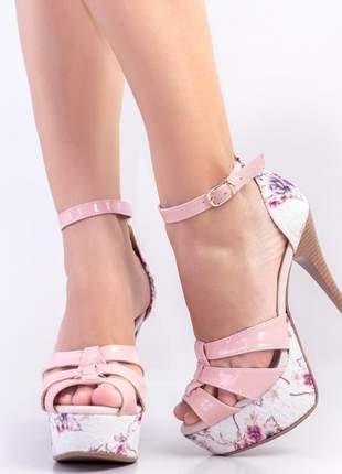 Sandália meia pata salto alto rosa floral