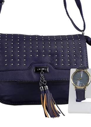 Kit bolsa feminina + relógio casual