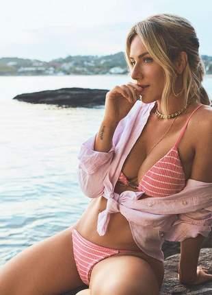 Biquíni new beach summer cortininha rosa giovanna ewbank