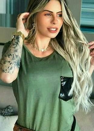 Camiseta blusinha paete