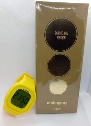 Fragrância des. make me fever gold 100 ml +  relógio  synok digital