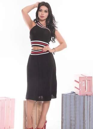 Conjunto feminino saia e cropped tricô loren