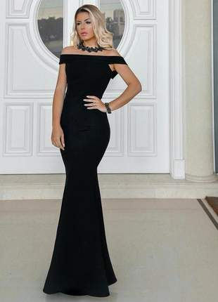 Vestido de festa preto longo sereia ombro a ombro lançamento