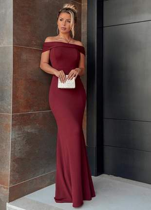 Vestido longo vinho marsala sereia ombro a ombro lançamento