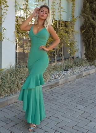 Vestido de festa longo verde menta doce agua babado sereia lançamento