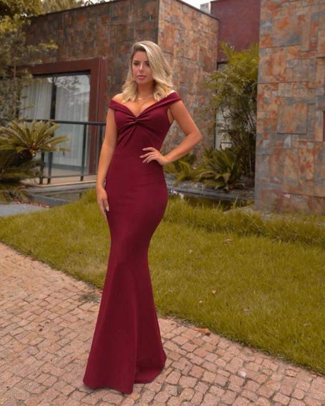 Vestido Vinho Marsala Longo De Festa Sereia Ombro A Ombro Lançamento R 14900 Shafa O Melhor Da Moda Feminina