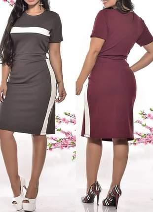 Vestido canelado moda evangélica marron