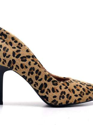 Sapato social feminino scarpin onça animal print salto medio  fino 7 cm