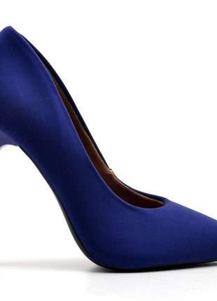Sapato social feminino scarpin nobuck azul salto alto fino 11 cm