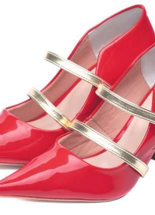 Sapato scarpin vermelho salto grosso