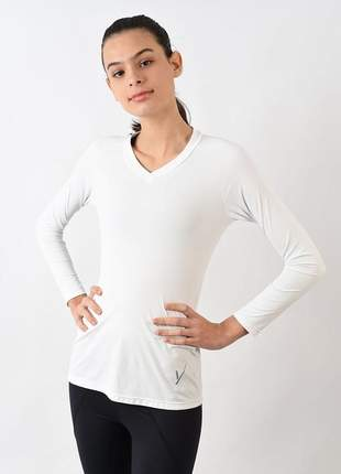 Camisa evolution feminina manga longa branca